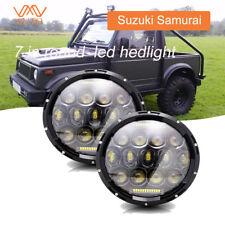 For Suzuki Samurai pair 7'' Round LED Headlights Hi/Lo Beam  Jeep Wrangler