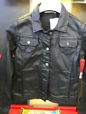 Ladies BMW Motorcycles Casual Leather look coated Denim Jacket Black Medium