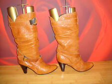 Superb OFFICE brown tan leather slouch boots  EU 40. *30*