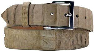 Genuine Crocodile Alligator Skin Belt Sand Western Cowboy Silver Dress Buckle