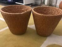 PAIR X2 Vintage Woven Basket Planter Plant Pot Holder Bin Retro Boho Tiki