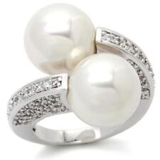 0W025 DESIGNER PEARL  SIMULATED DIAMOND RING WOMENS PAVE SET CREAM