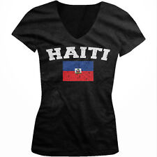 Haiti Distressed Soccer Flag - Hatian Pride Nationality Juniors V-neck T-shirt