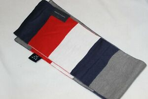 Tommy Hilfiger Men's Red Grey Blue TOMMY Winter Acrylic Scarf $55