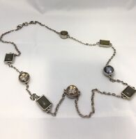 """Ann Taylor LOFT Silver Tone Statement Necklace 36"""" Crystal Acrylic Chiclets"""