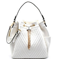 Isabelle® Large Zip-Top & Drawstring Quilted Hobo w/ Side Pockets + Strap- White