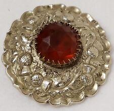 Antique Silver Scottish Thistle Kilt Pin Citrine Color Stone In Center