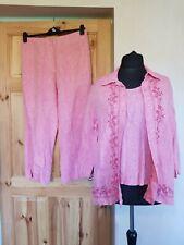 Pink cotton linen blend 3 piece suit size 3XL trousers top jacket SOLEIL plus
