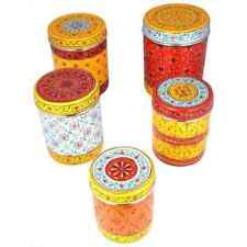 Indian Traditional Hand Painted  Canister Storage Box Handicraft Set Of 5 us217