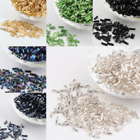 50g DIY Silver Lined Glass Twist Bugles Seed Beads 6x1.8mm about 1250pcs/50g
