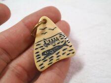 Vintage Scrimshaw Faux Ivory Celluloid WHALE HUNT Key Watch Fob -he