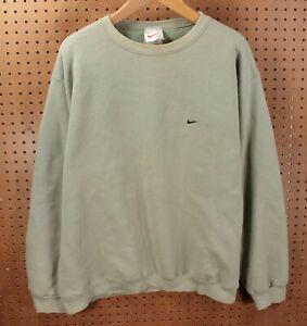 vtg Nike sweatshirt pullover XL green check swoosh 90s 00s dzx mini neck center