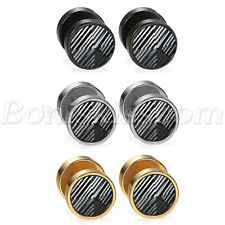 Illusion Tunnel Ear Plug Studs Earrings 2pc Men Women Stainless Steel Screw Back