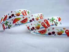 "1"" Beach printed grosgrain ribbon 10 yd Free S&H 4 Hair bow 100% Polyester"