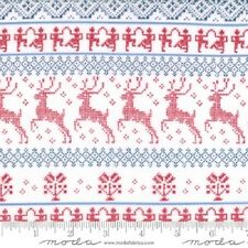 NORDIC STITCHES RED SNOW DEER STRIPE FABRIC