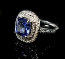 Women's Engagement Cocktail Ring 6.1CT Cushion Tanzanite Diamond 14K White Gold