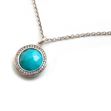 New Ippolita Stella Round Turquoise and Diamond, Silver Necklace 18.5""