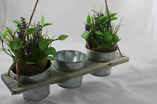 Hanging ''three'' PLANTER BOX POT Shabby Chic Vintage Retro WOODEN GARDEN
