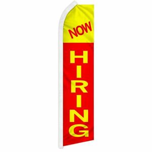 """NOW HIRING"" advertising super flag swooper banner business sign"