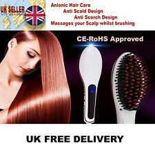 WHITE L AUTOMATIC ELECTRIC LCD STYLING HAIR STRAIGHTENER NON CURLER BRUSH COMB