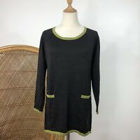 See Saw Long Sleeve Knit Top Wool Blend Size S 10 Black Green Trim Round Neck