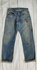 Vintage 1970s Levis 501 Selvedge Redline Denim Distressed #6 Made USA Jeans 32