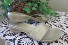 BCBGirls LITE GOLD metallic slide leather wedge pool sandals-size 9.5 B