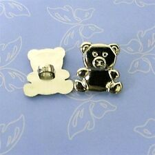 15 Teddy Bear Novelty Scrapbooking Electroplated Sewing Buttons 17mm Silver K215