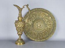 Antique Important Amphore Bronze Avec Assiette Blason Colleoni Époque Xx Seconde