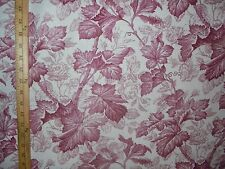 "3 Yd Pc. 54"" WAVERLY-Lynnbrook-Crimson & White Cotton/Linen Fabric-Scotchguard"