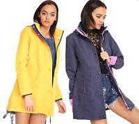 New Womens Hooded Kagool Plain Outdoor Waterproof Rain Coat Jacket