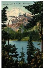 Vintage postcard Mt. Baker and Reflection Lake Washington