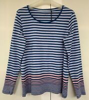 Sportscraft blue/pink stripes cotton L/slv TEE, size S, in excellent condition