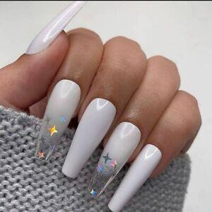 French Manicure Long Ballet False Nail White Gradient Star Coffin Fake Nails Art