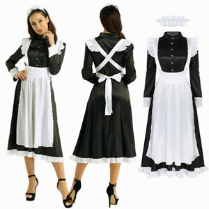 Women Maid Cosplay Costume Dress Babydoll Uniform Apron Outfit Party Dress Up