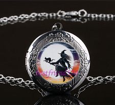 Witch and Black Cat Glass Gun Black Chain Locket Pendant Necklace