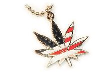 Marijuana 420 USA Flag Medical Weed Cannabis Charm Pendant Necklace w/ Chain