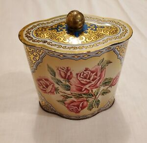Vintage Floral Tin Container Made in Western Germany with Lid