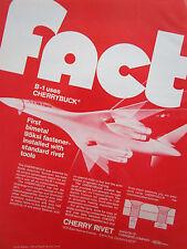 5/1973 PUB CHERRY RIVET SANTA ANA B-1 BOMBER USAF FASTENER ORIGINAL AD