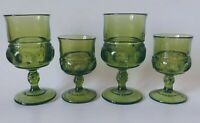 (4) Indiana Glass Green King's Crown Thumbprint 2 Wine Goblets/2 Juice Glasses