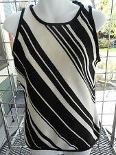 NWOT-Jones New York-sz M-sleeveless cotton blend knit top-black & cream diagonal