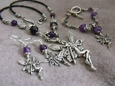 FAIRY NECKLACE EARRINGS BRACELET AMETHYST gemstone purple wicca ethnic boho goth