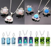 Women 925 Silver Jewelry Set Ruby Sapphire Emerald Amethyst Pendant Earring Gift