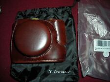 brown Leather camera case with strap & bag , clanmou
