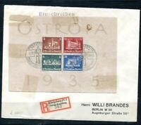 Germany 1935 Mi Block 3 OSTROPA  Sheet  Registered Cover Berlin RARE  7331