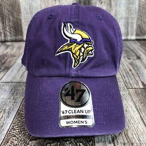 Minnesota Vikings Womens Hat NEW '47 Brand Clean Up Adjustable Cap Football NFL