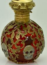 Antique Victorian Cranberry Red crystal&gild silver overlay Poison Skull bottle