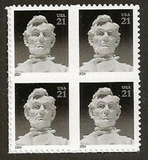 US 4860 Abraham Lincoln 21c block (4 stamps) MNH 2014