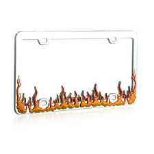 Flame Chrome Coated Metal License Plate Frame for Auto Car Truck Van SUV