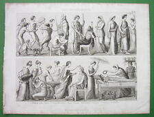 GREECE Greek Life Gymnastics Wedding Women Funeral  - Antique Print